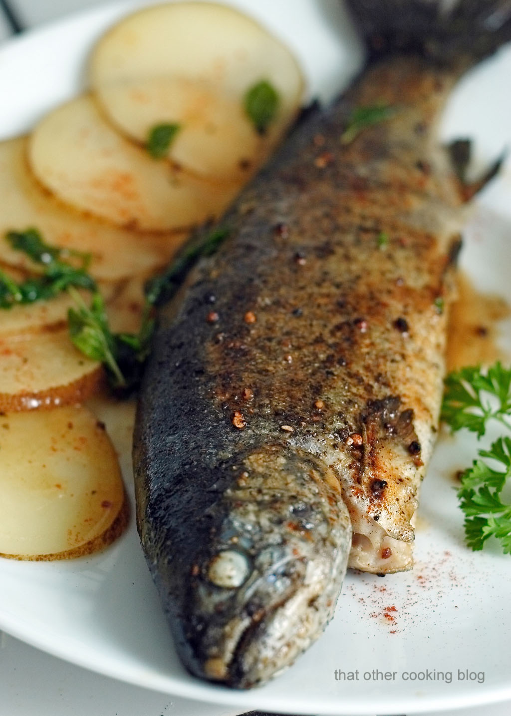 Pan roasted trout whole pickled potatoes can you for What temperature to fry fish